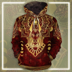 Anubis Pattern In Red All Over Printed Hoodie