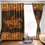 Barrel Racing Brown Window Curtains