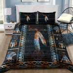 Black Blue Feather Native American Bedding Set