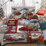 Merry And Bright Christmas Red Truck Quilt Bed Set