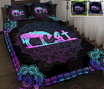 Cowgirl and her Horse kneeling at the Cross Quilt Bed Set & Quilt Blanket