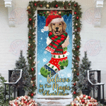 Believe In The Magic Of Christmas Golden Retriever In Sock Door Sticker