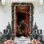 Christmas Barn Horse Door Sticker
