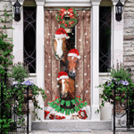 Horses Christmas Snow Barn Door Sticker