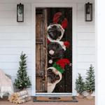 Three Pugs Snowy Christmas Door Sticker