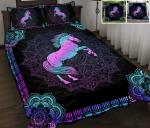 Horse Purple Mandala Quilt Bed Set & Quilt Blanket