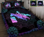 Young Girl Barrel Racing purple mandala pattern Quilt Bed Set & Quilt Blanket