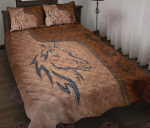Love Horses Leather Pattern Print Quilt Bed Set