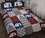 Camping Blue Quilt Bed Set