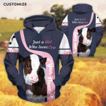 Just A Girl Who Loves Cow Customize 3D All Over Printed Hoodie