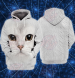 White Cat 3D All Over Printed Hoodie