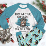 Rottweiler Raglan Pajama Set Rottweiler Heart