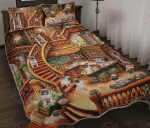 Pug Coffee Shop Quilt Bed Set