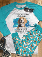 Beagle Raglan Pajama Set Beagle Heart