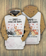 Cats Make Me Happy 3D All Over Printed Hoodie