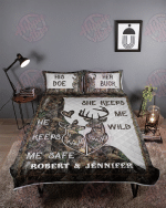 Personalized Deer Couple Camo Safe Wild Quilt Bed Set