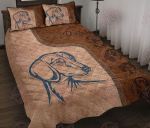 Dachshund Leather Pattern Quilt Bed Set