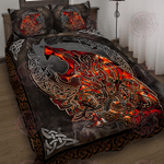 Red Wolf Viking Quilt Bed Set