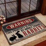 Rabbits Warning This Property Is Protected Doormat