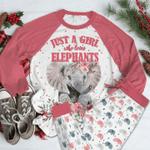 Elephant Raglan Pajama Set Girl Loves Elephants