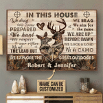 Personalized Deer Camo In This House Horizontal Poster