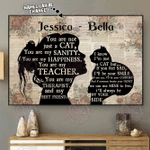 Girl Cat Silhouette Horizontal Poster