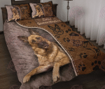 German Shepherd - Love Leather Pattern Print Quilt Bed Set