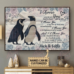 Personalized Penguin I Choose You Horizontal Poster