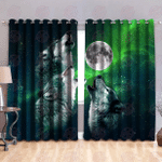 Wolf & Moon 3D All Over Printed Window Curtains