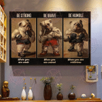 Bulldog Boxer Be Strong Horizontal Poster