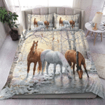 Three Horses Winter Forest Lake Bedding Set