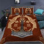 Viking Ravens Mjolnir Quilt Bed Set