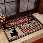 Yorkshire Terrier Warning This Property Is Protected Doormat