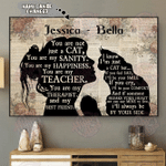 Girl Maine Coon Silhouette Horizontal Poster