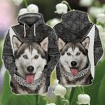 Love Husky 3D All Ober Printed Hoodie