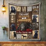 Black Labrador Retriever Loves Me Quilt Blanket