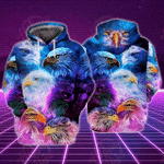 Eagle Neon 3D All Over Printed Hoodie