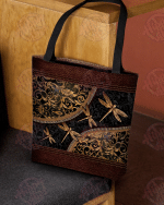 Dragonflies Leather pattern print tote bag