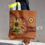 Hippie Tote Bag Personalized Sunflower Pot