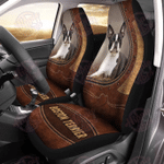 Boston Terrier Leather Pattern Car Seat Cover
