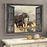 Elephant Window Wrapped Canvas Prints