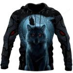 Fenrir Viking Wolf And Moon 3D Over Printed Hoodie
