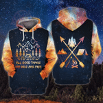 All Good Things Are Wild And Free Camping 3D Over Printed Hoodie