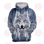 Wolf Native American 3D All Over Printed Hoodie HPV01