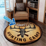 Personalized Vintage Hunting Camp Round Rug