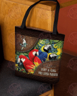 Just A Girl Who Loves Parrots Leather All-Over Tote