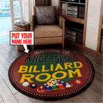 Personalized Billiard Room Round Rug