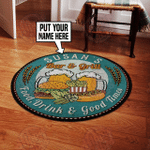 Personalized bar and grill food drink and good time round rug