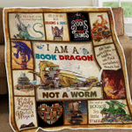 I Am A Book Dragon Quilt Blanket