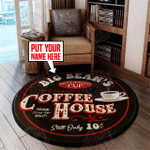 Personalized coffee house round rug